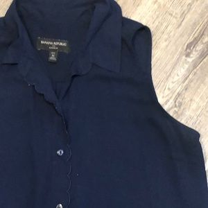 Banana Republic Navy Blue Button Front Blouse MP
